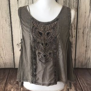 Free People beaded Barn Owl Top size Small